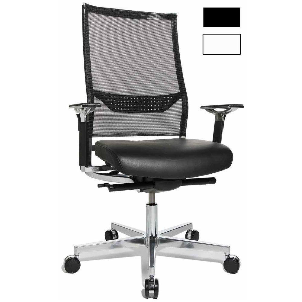 Fauteuil de direction design et ergonomique chromé avec support lombairec- noir (photo)