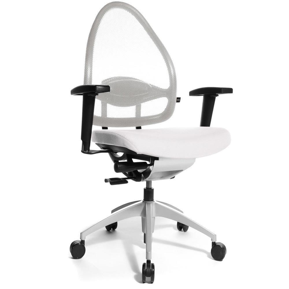 Fauteuil de bureau ergonomique bas dossier blanc (photo)