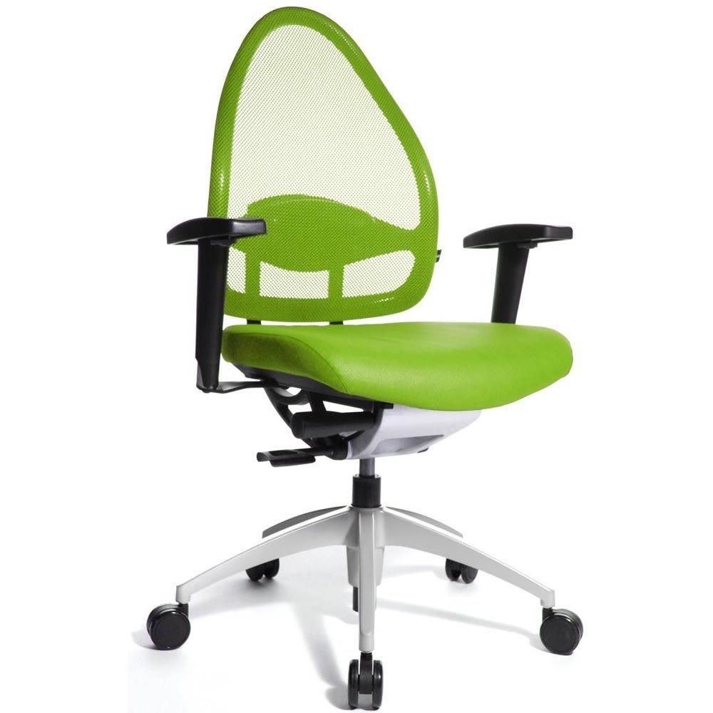 Fauteuil de bureau ergonomique bas dossier vert pomme (photo)