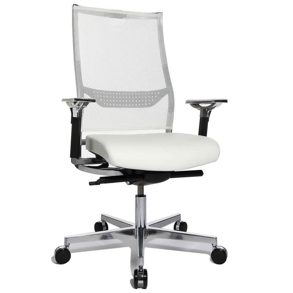 Fauteuil de direction design et ergonomique chromé avec support lombaire - blanc (photo)