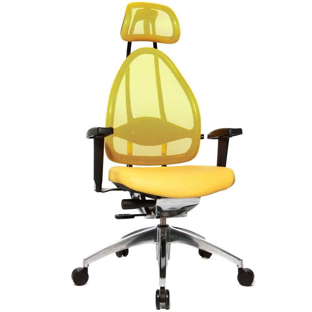 Siège de bureau ergonomique spécial mal de dos jaune (photo)