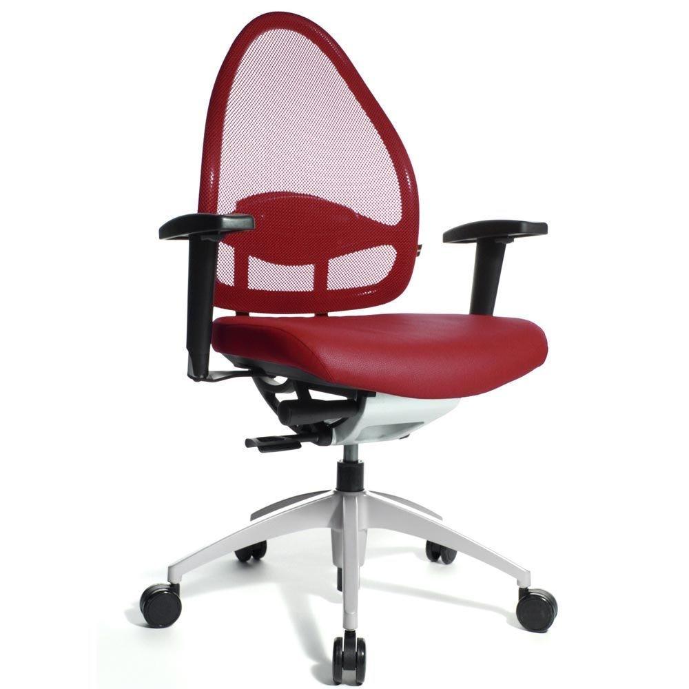 Fauteuil de bureau ergonomique bas dossier rouge (photo)