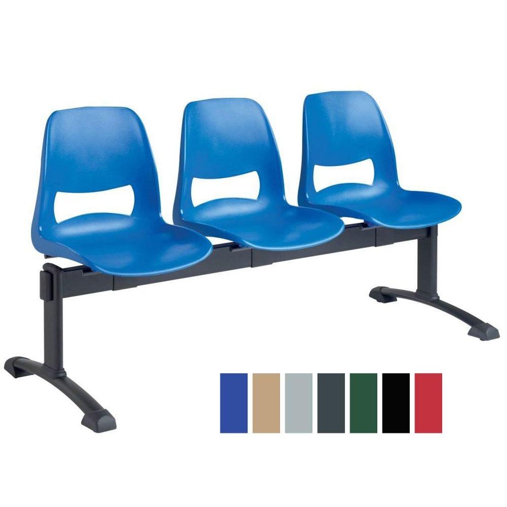 Chaise coque en plastique sur poutre 3 places - coloris : bleu