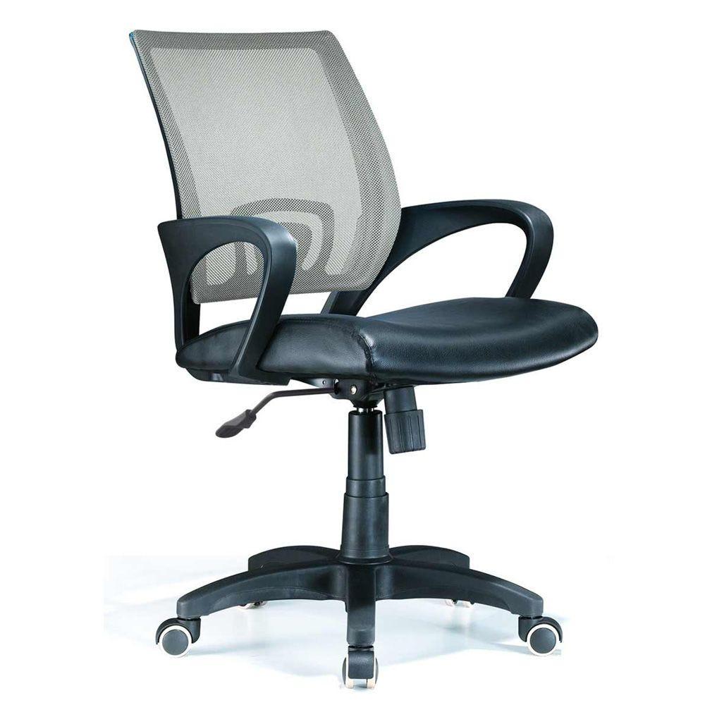 Siege de bureau filet gris et assise pvc noir