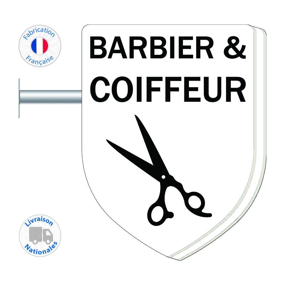 Enseigne - Barbier-Coiffeur N°4 - 75x55 cm - Livraison incluse