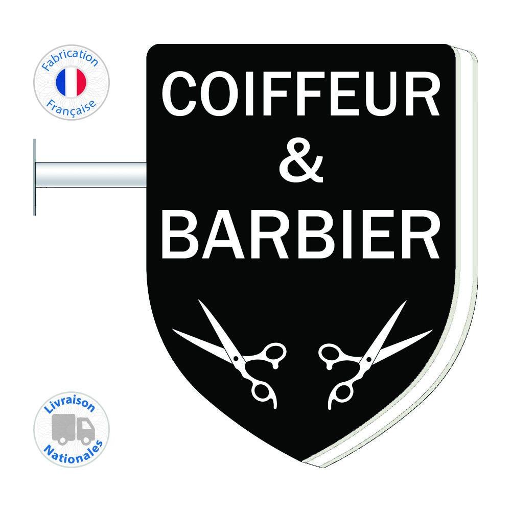 Enseigne - Barbier-Coiffeur N°6 - 75x55 cm - Livraison incluse