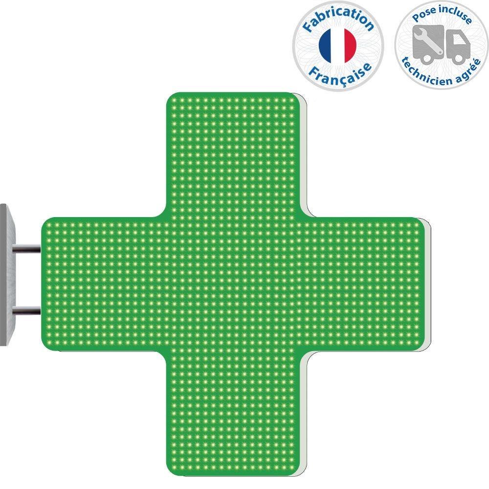 Enseigne lumineuse led pharmacie n°4- 99x99 cm - pose incluse (photo)