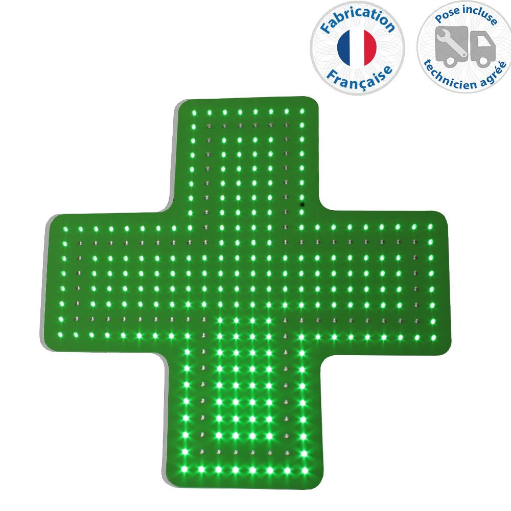 Enseigne lumineuse led pharmacie n°12- 50x50 cm - pose incluse (photo)