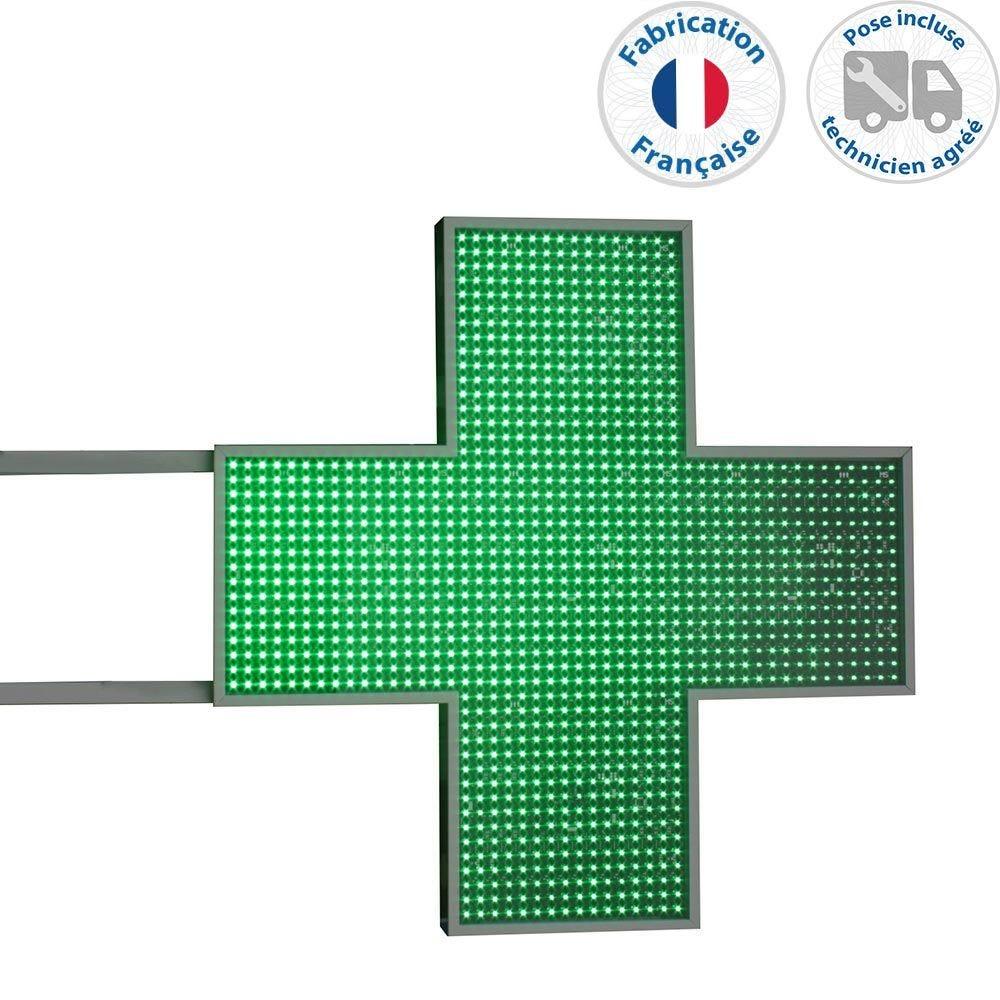 Enseigne lumineuse led pharmacie n°9- 80x80 cm - pose incluse (photo)