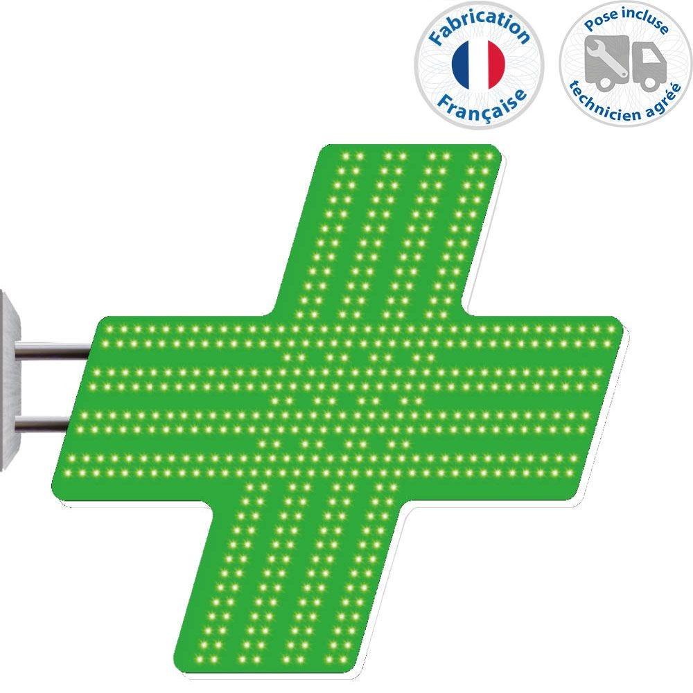Enseigne lumineuse led pharmacie n°5- 72x78 cm - pose incluse (photo)
