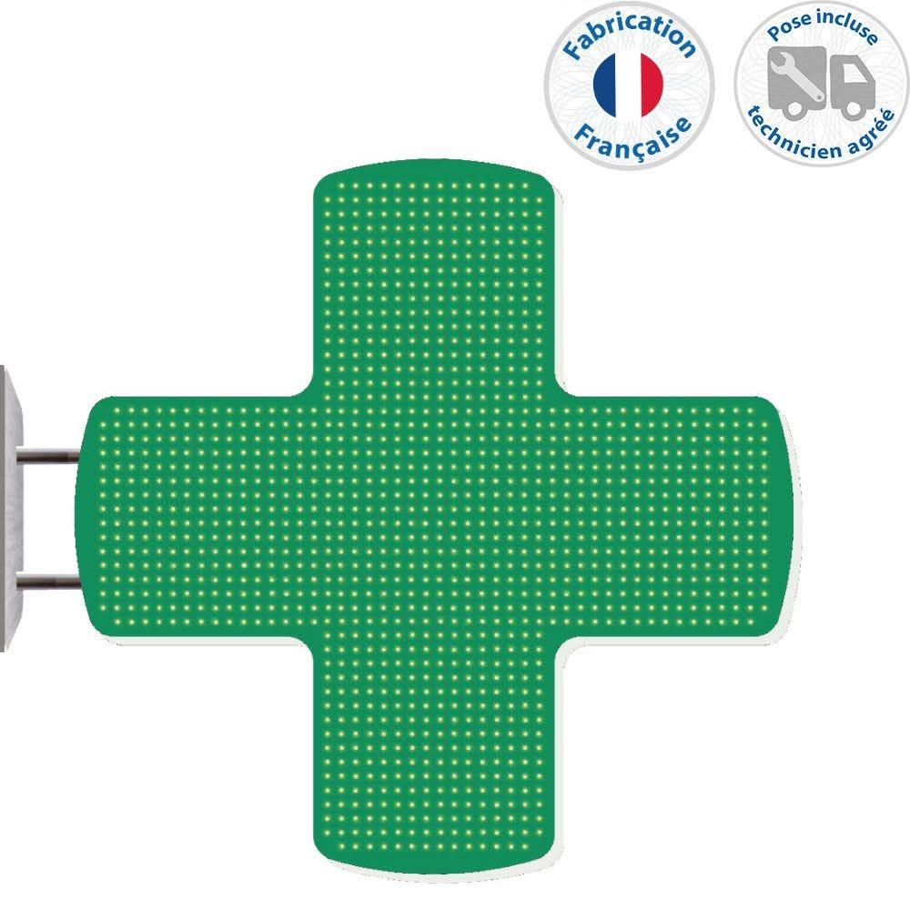 Enseigne lumineuse led pharmacie n°6- 105x105 cm - pose incluse (photo)