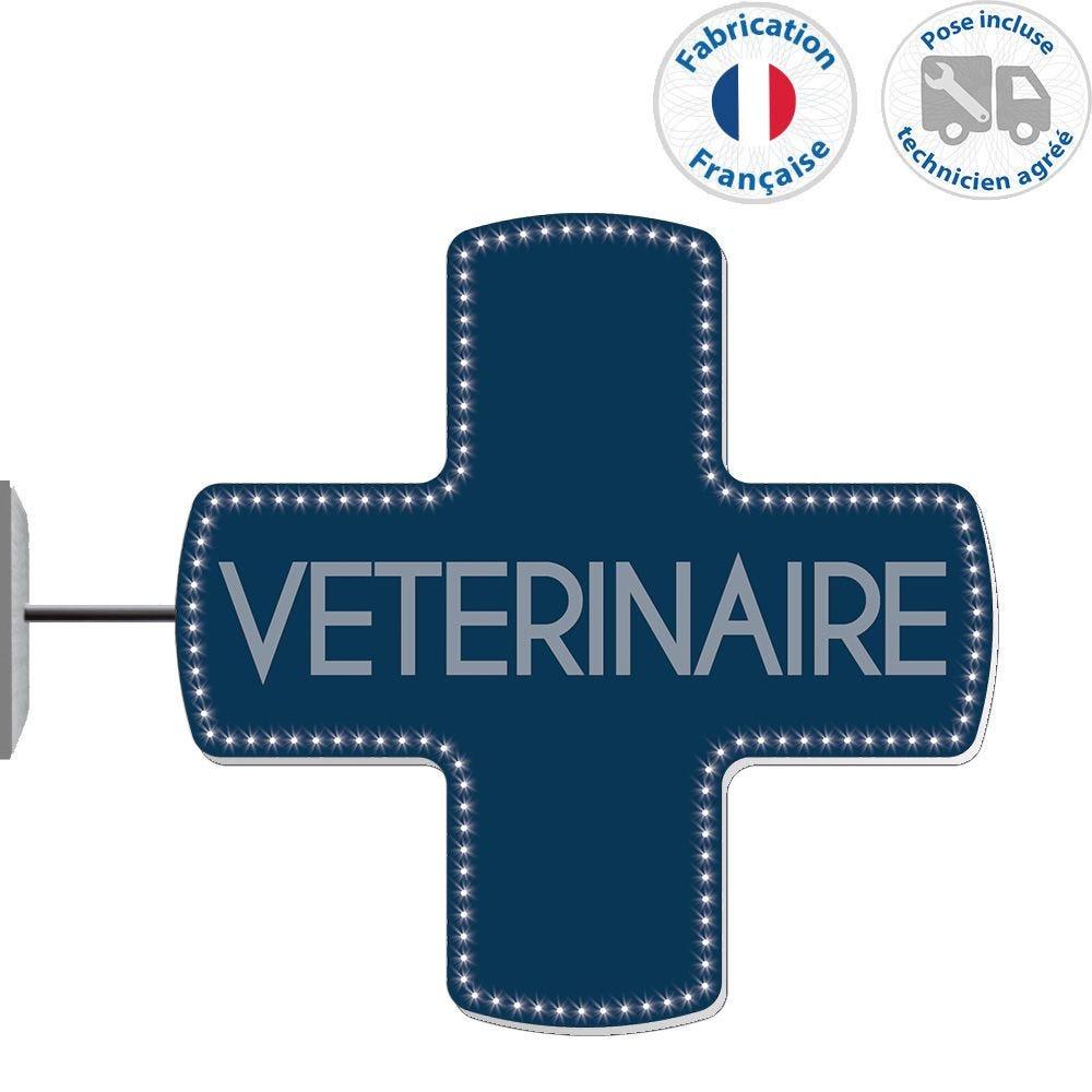 Enseigne lumineuse led vétérinaire n°8- 75x75 cm - pose incluse