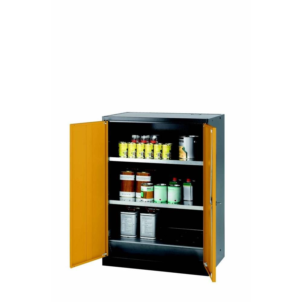 Armoire de stockage 2 portes battantes jaunes l810 x p520 x h1105 mm (photo)