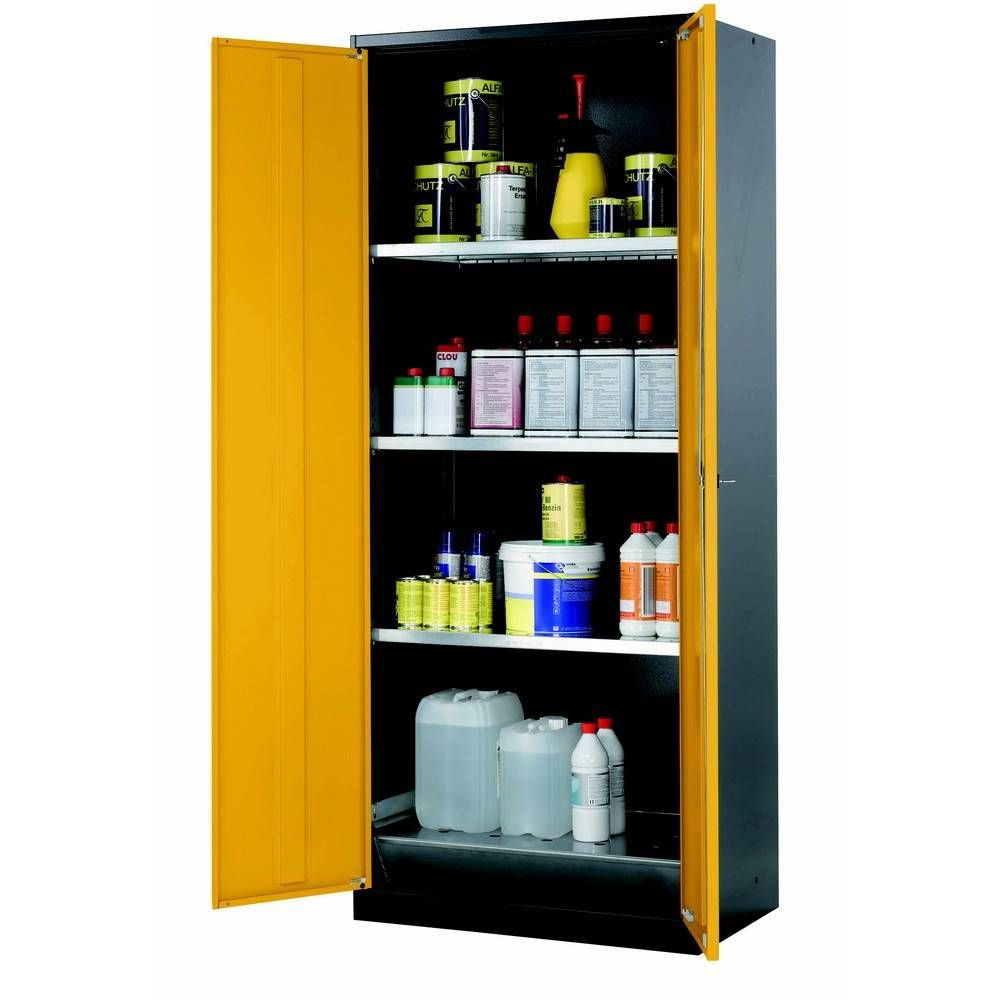 Armoire de stockage 2 portes battantes jaunes l810 x p520 x h1950 mm (photo)