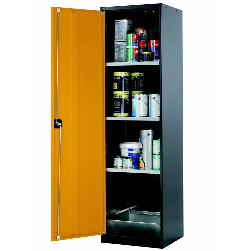 Armoire de stockage 1 porte battante jaune l545 x p520 x h1950 mm (photo)