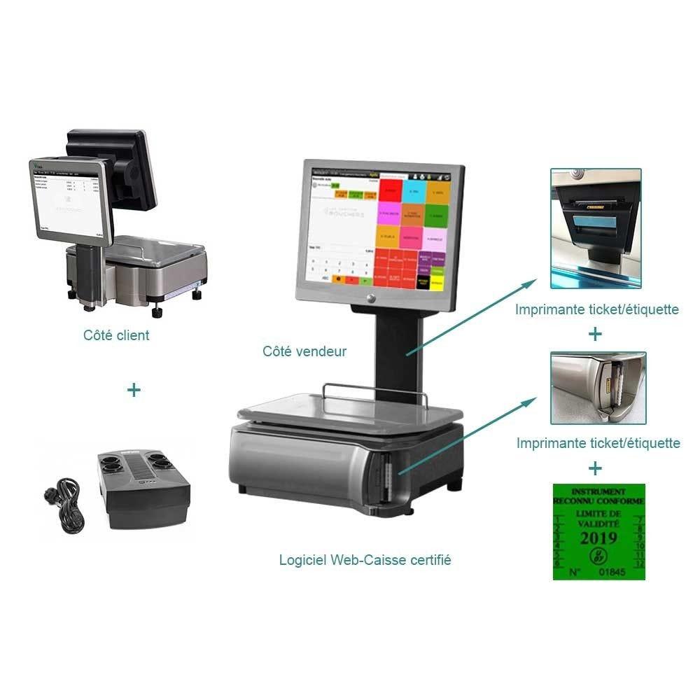 Pack encaissement balance pesage double imprimante start commerce indépendant (photo)