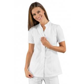 Tunique médicale blanche col Mao manches courtes Isacco - XL