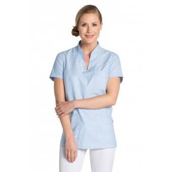 Tunique médicale col Mao bleu ciel - L