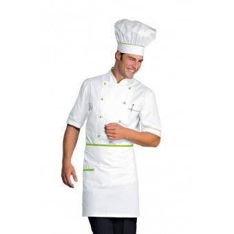 Tablier de cuisine Taille Cm 70x46 avec Poches Blanc Vert Pomme -