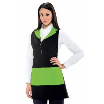 Tablier de service pour femme Madeira Avec Zip Noir Vert Pomme -