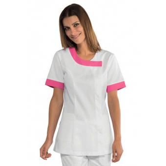 Tunique médicale Delhi blanche et rose fuschia - XL