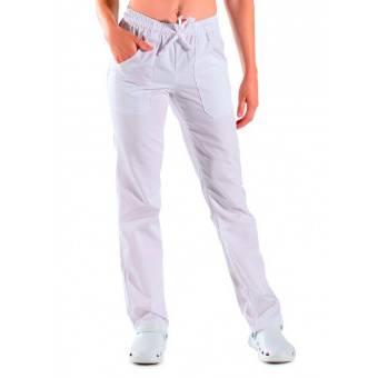 Pantalon Mixte Taille Elastique Blanc 100% Coton - S