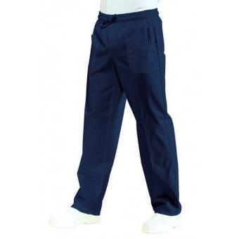 Pantalon médical Mixte Taille Élastique Bleu marine 100% Coton Bleu - L
