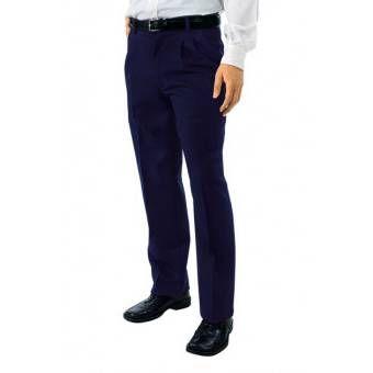 Pantalon a Pinces Taille Haute Homme Bleu - 48