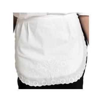 Tablier de serveuse deux poches cachées, dentelle blanche -