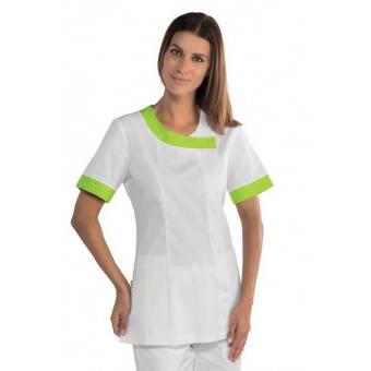 Tunique médicale Delhi blanche et verte - XL