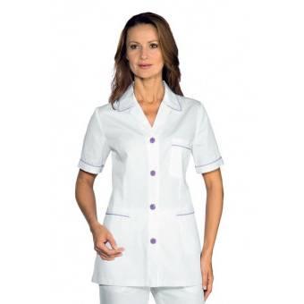 Tunique Femme Ginevra Manches courtes Blanc Lilas 100% Coton - XL
