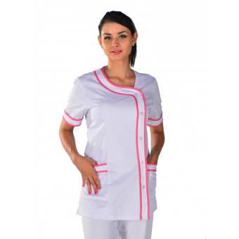 Tunique médicale Brasilia blanche et rose Clinic Look - L