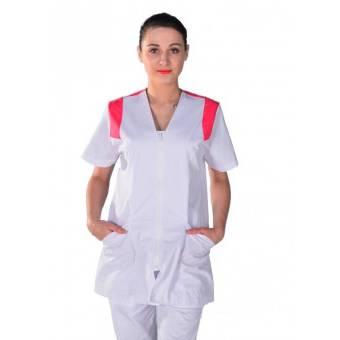 Tunique médicale Femme blanche et rose Clinic Look - M