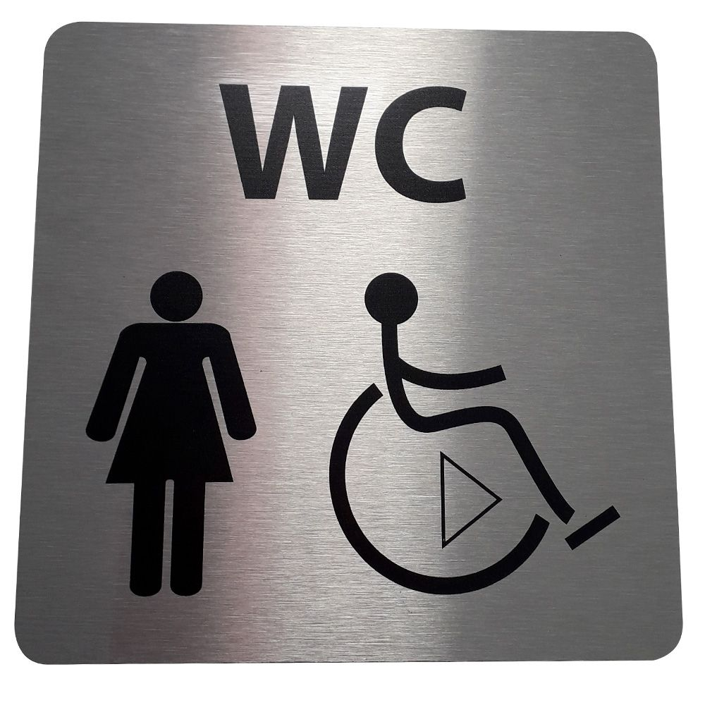 Picto de porte en alu WC Femme / PMR avec sens de transfert - 15 x 15 cm- Droite