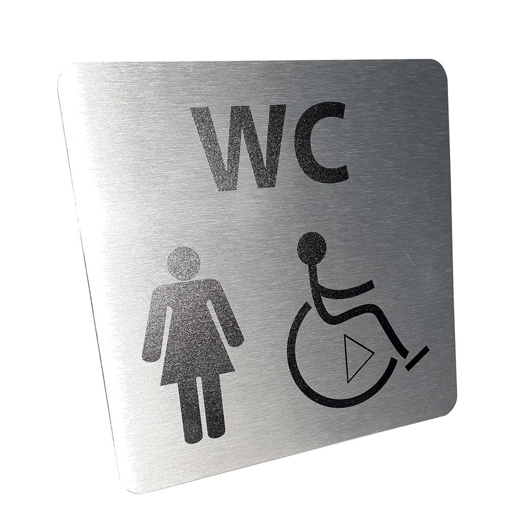 Picto de porte en alu WC Femme / PMR avec sens de transfert - 15 x 15 cm- Gauche