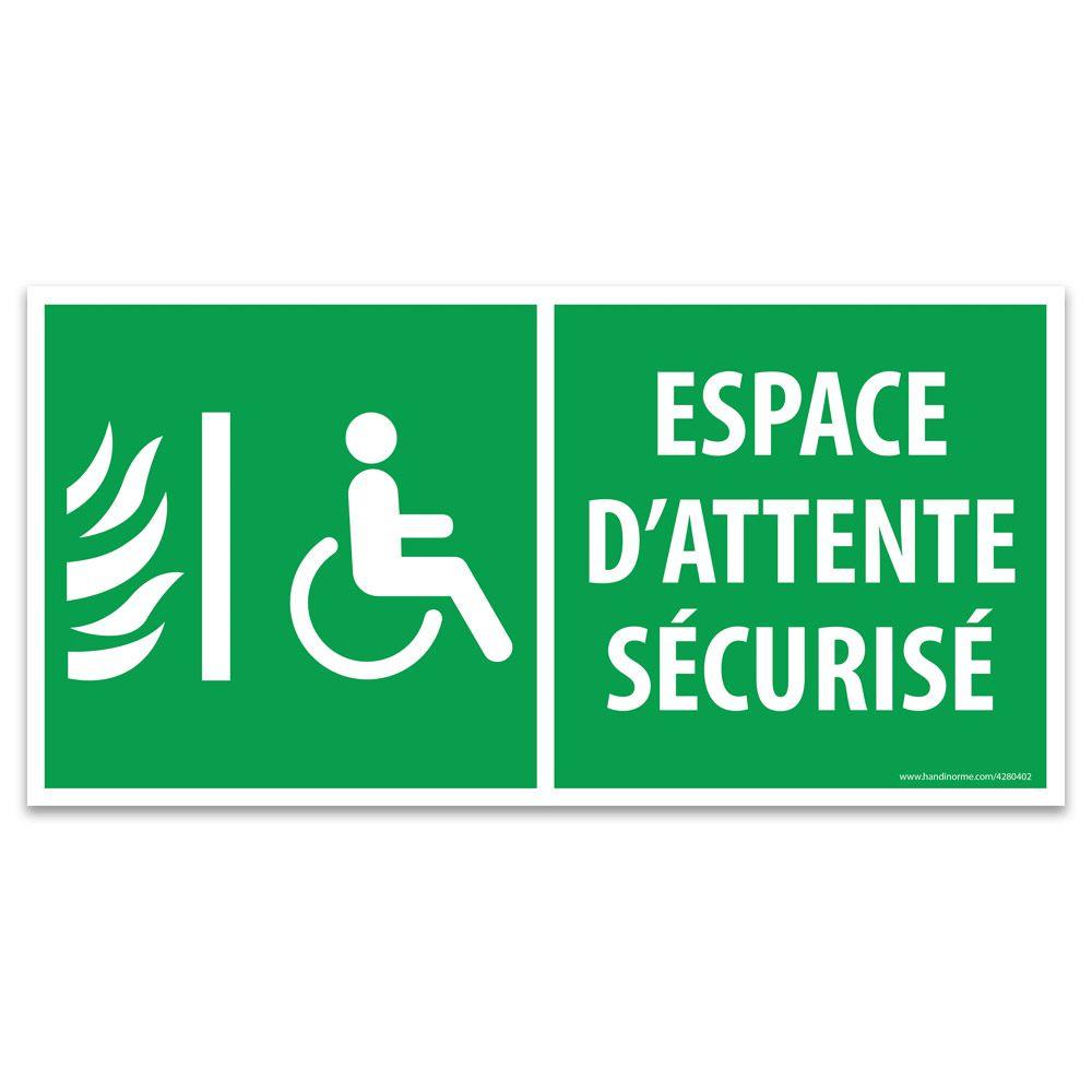 Panneau Espace d'attente sécurisé pour handicapés- Vinyle - 400 x 200 mm
