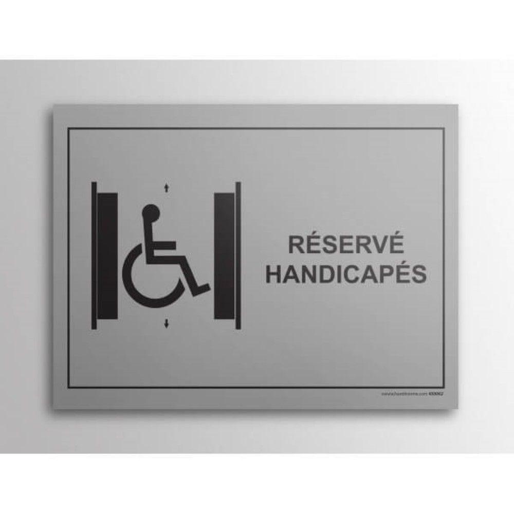 Plaque gravée Ascenseur Réservé PMR- Fond Inox