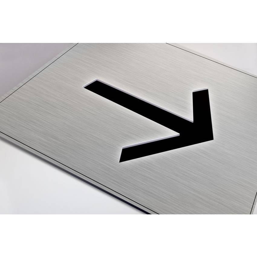 Plaque gravée picto Flèche- Fond Inox