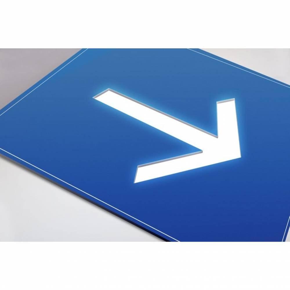 Plaque gravée picto Flèche- Fond Bleu
