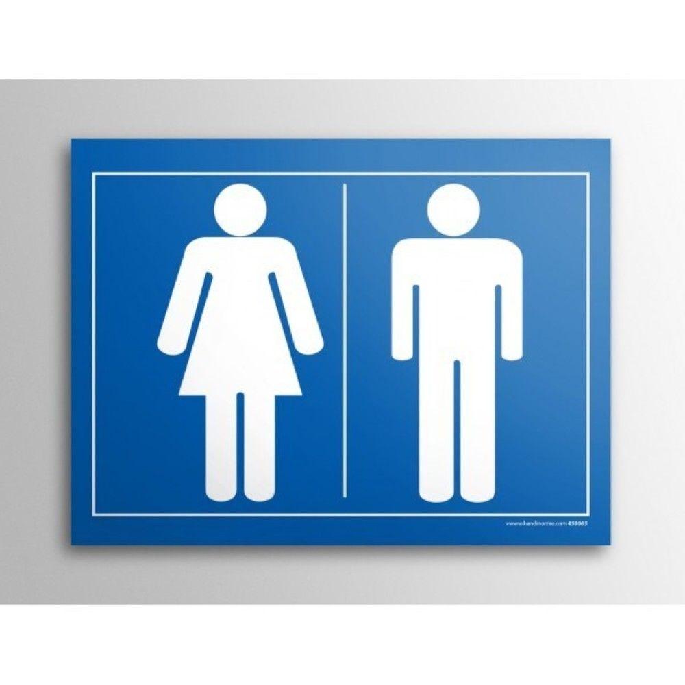 Plaque gravée picto - Homme/Femme - 10 x 14 cm- Fond Bleu