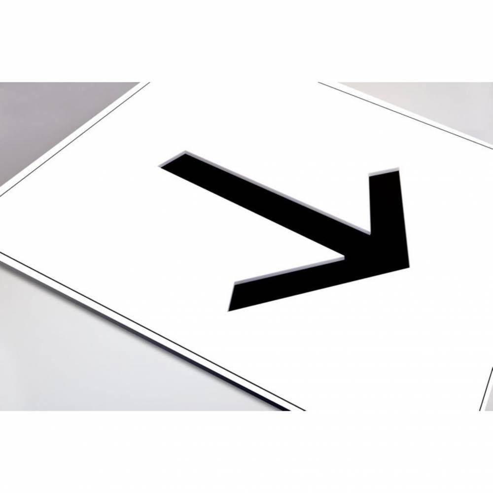 Plaque gravée picto Flèche- Fond blanc