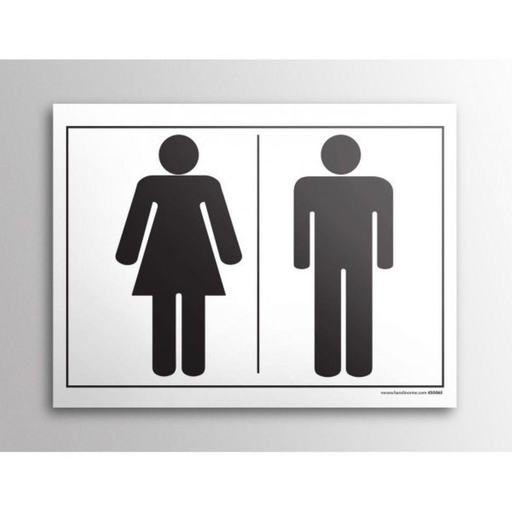 Plaque gravée picto - Homme/Femme - 10 x 14 cm- Fond blanc