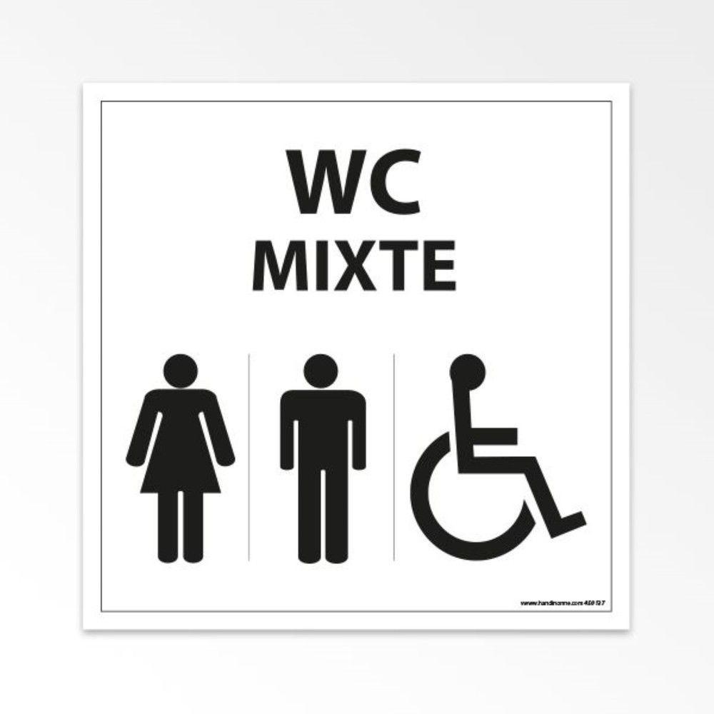 Panneau WC Mixte Femme - Homme - PMR - Blanc - 125 x 125 mm - PVC