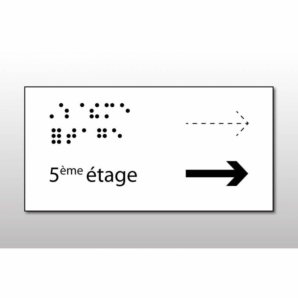 Manchon en Braille Direction : 5ème étage - Main courante de gauche