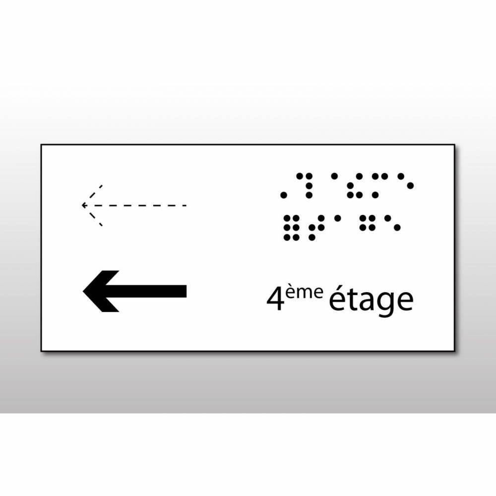 Manchon en Braille Direction : 4ème étage - Main courante de droite