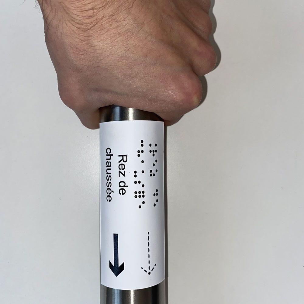 Manchon en Braille Direction : Rez de chaussée - Main courante de gauche