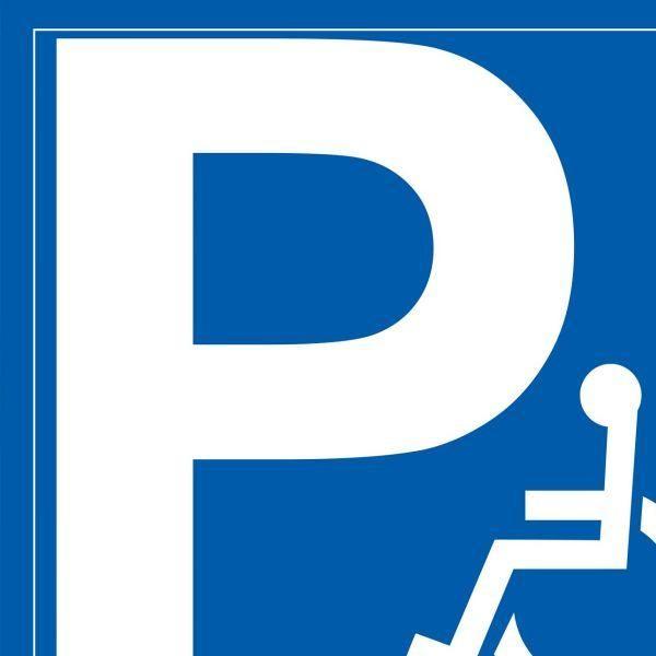 Panneau parking p + pictogramme personne handicapée 350x350 mm