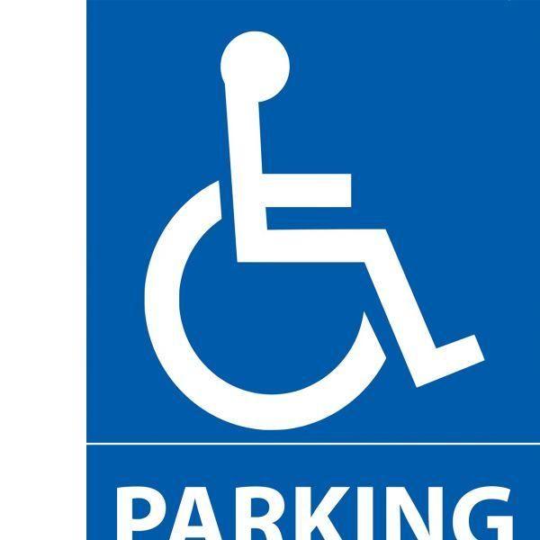 Panneau parking + pictogramme handicapé 150x210 mm