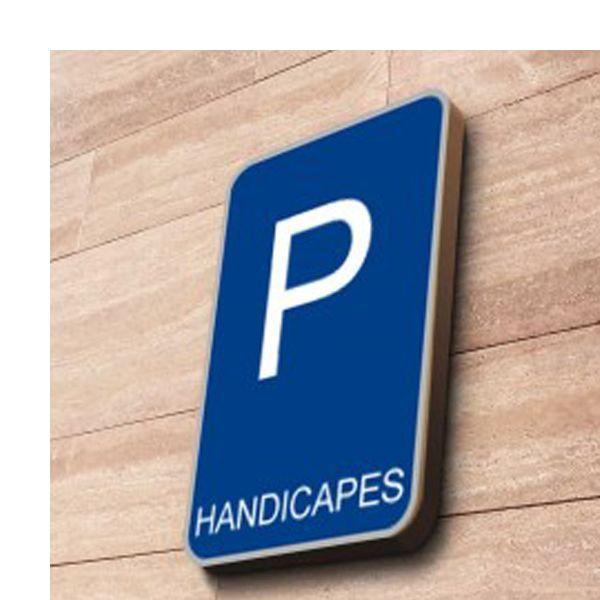 Panneau parking handicapé à couvre-chant rectangulaire couvre-chant - 300x500 mm