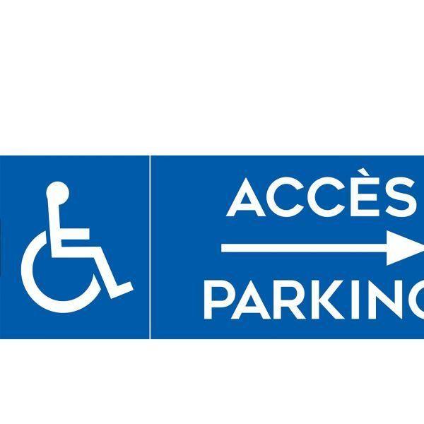 Panneau parking accès flèche droite + picto handicapé 700x250mm